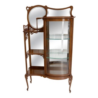 Side by Side Elegant Art Nouveau Style Bookcase Mirrored Bowed Glass Door Curio For Sale