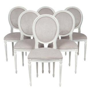 Louis XVI Style Velvet Dining Chairs For Sale