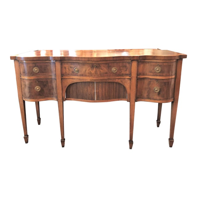 Antique English Mahogany Sideboard With Serpentine Design, Circa 1820-1840. For Sale