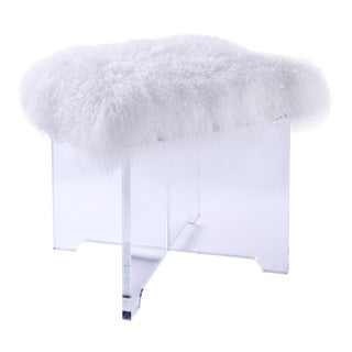 Modern Pasargad Home Firenze Collection Mongolian White Fur Ottoman For Sale