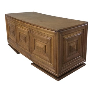 Mid-Century Modern Grand Oak Crescent-Shaped Desk For Sale