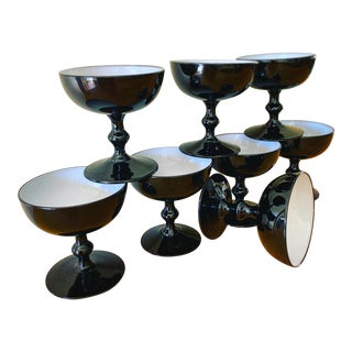 Vintage Black and White Champagne Glasses- Set of Eight For Sale