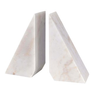 Othello Marble Bookends in White - A Pair For Sale