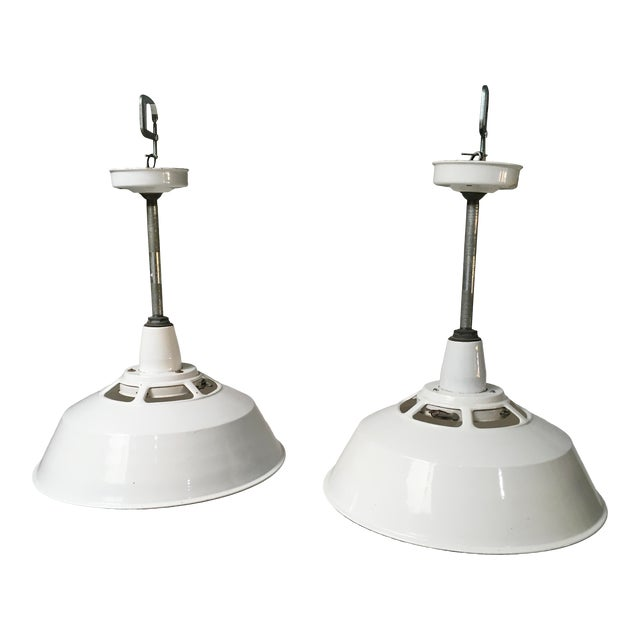 1950s Smoot Holman Industrial White Enamel Pendant Lights - a Pair For Sale