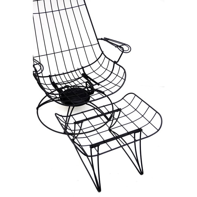 1960s Mid-Century Homecrest Metal Wire Patio Chairs & Ottoman    Indoor/Outdoor High Back Swivel Rocker Lounger Footstool Original Cushions Included For Sale - Image 5 of 10