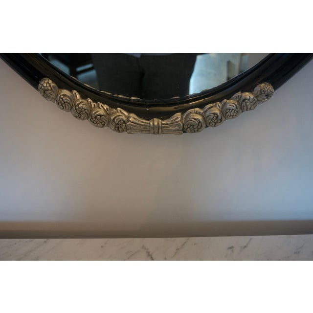 Late 20th Century Black and Silver Console and Mirror From South Beach - 2 Pc. Set For Sale - Image 5 of 12