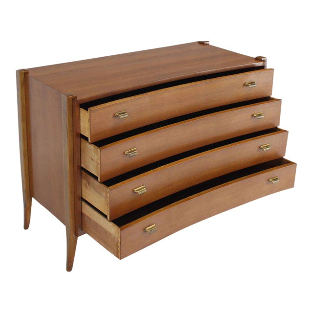Bow Front Mid-Century Modern Bachelor Four Drawers Chest Dresser Brass Pulls For Sale
