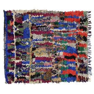 Vintage Berber Moroccan Boucherouite Accent Rug - 4′7″ × 5′2″ For Sale