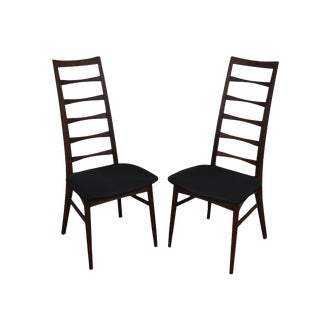 Danish Modern Mid Century Pair Ladder Back Side Dining Chairs For Sale