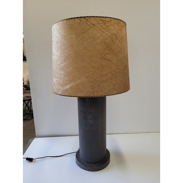 1960s Mid-Century Table Lamp With Pinhole Lights & Vintage Shade For Sale - Image 9 of 9