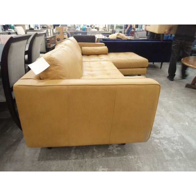 Tan Leather Sectional Sofa, Right Chaise, Tufted Seating For Sale - Image 4 of 8