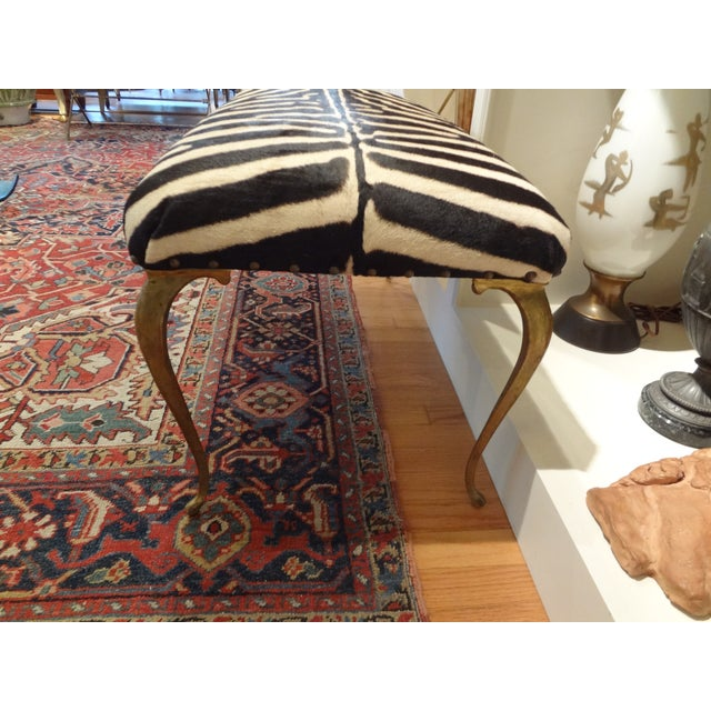 Italian Brass Bench Upholstered in Zebra Hide - Image 5 of 8
