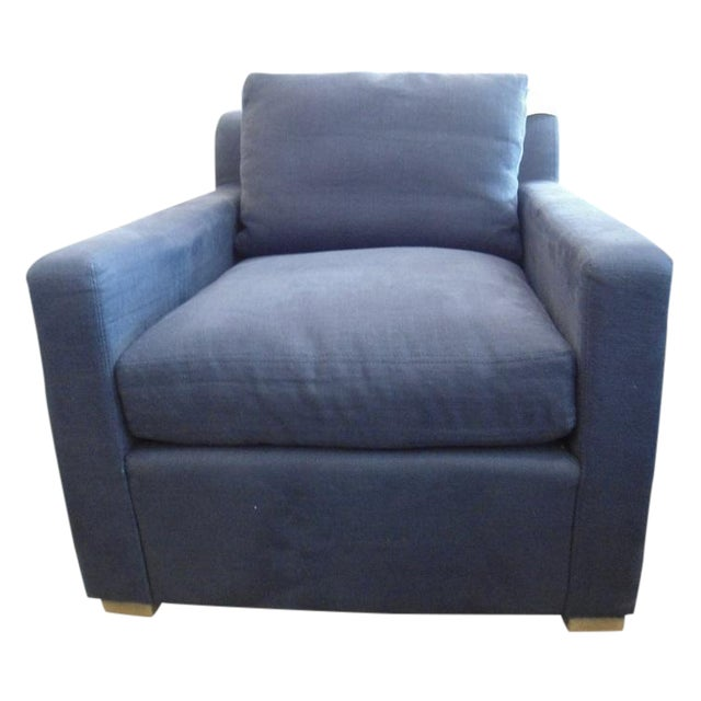 Restoration Hardware Upholstered Navy Armchair - Image 1 of 5