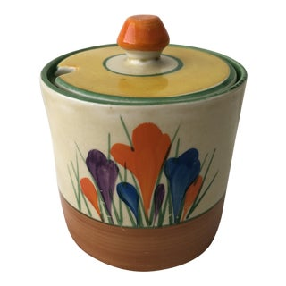 1930s Clarice Cliff Bizarre Autumn 'Crocus' Drum Preserve Pot For Sale