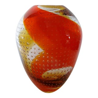 Swirl Design Art Glass Vase For Sale