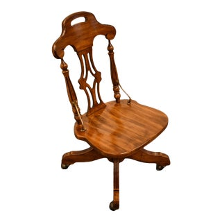 Vintage Riverside Oak Creek Rustic Country Style Oak Rolling Office Chair For Sale