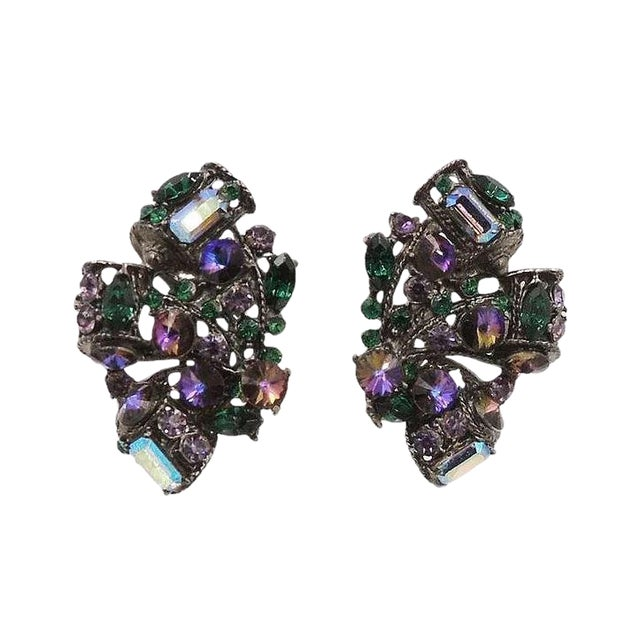 1980s Thelma Deutsch Japanned Rhinestone Earrings For Sale