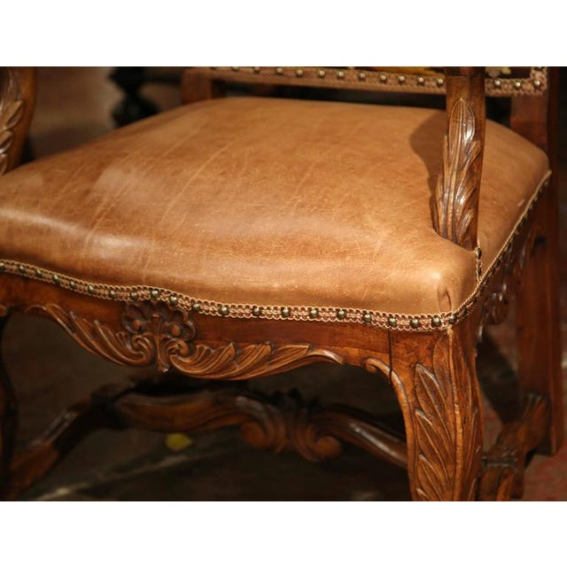 White French Leather & Needlepoint Armchairs - a Pair For Sale - Image 8 of 10