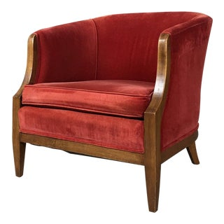 Vintage Mid-Century Red Velvet Tub Chair Hollywood Regency For Sale