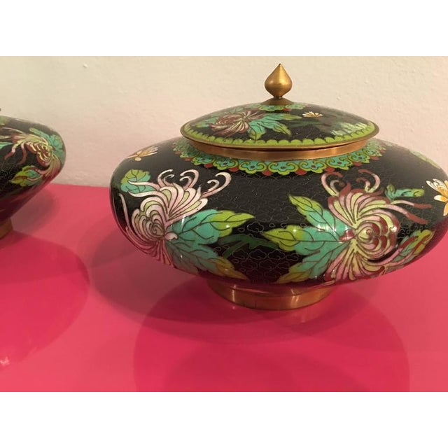 Vintage Cloisonné Lidded Jars - A Pair For Sale - Image 4 of 11