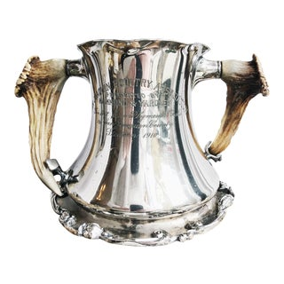 1910 Silver Plated California Poultry Trophy With Deer Antler Handles For Sale