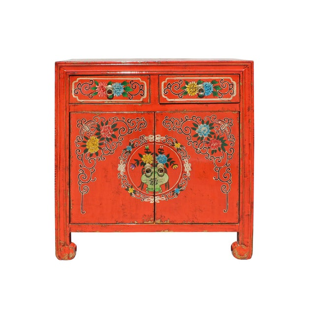 Chinese Distressed Orange Red Flower Graphic Table Cabinet For Sale - Image 4 of 8