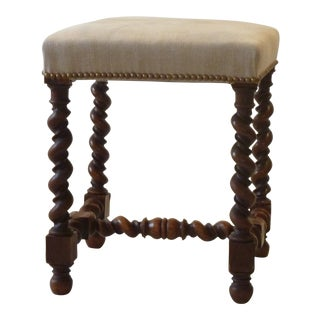 Late 19th Century Antique Barley Twist Leg Stool For Sale