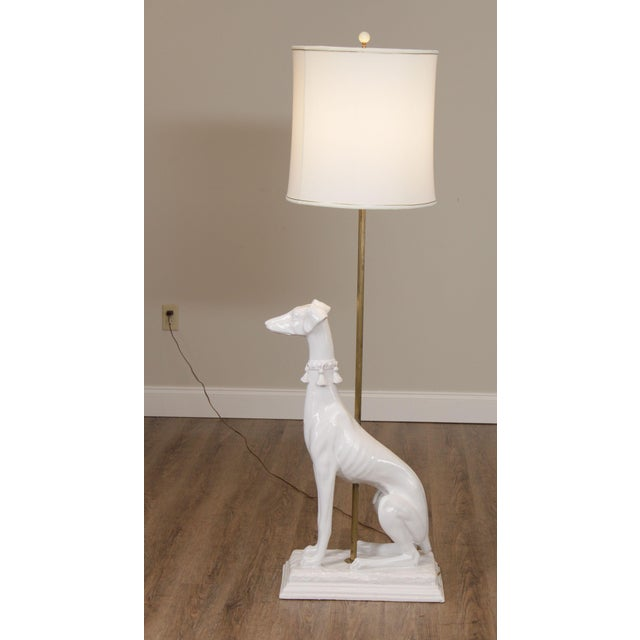 1950s Mid Century Italian Pottery White Whippet Greyhound Dog Floor Lamp For Sale - Image 5 of 13