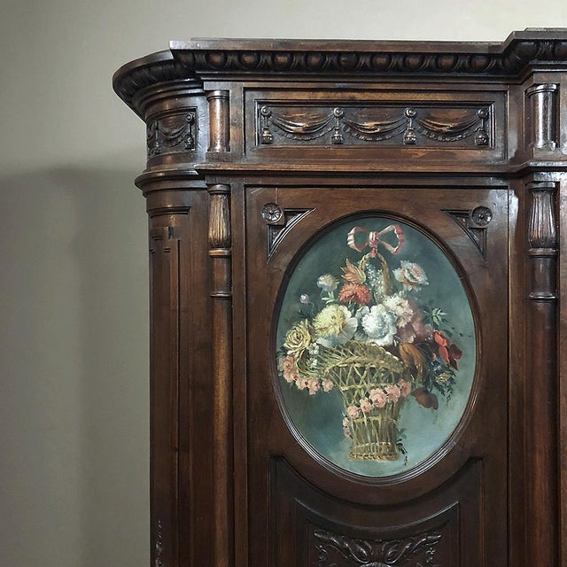 19th Century Italian Walnut Louis XVI Triple Armoire For Sale - Image 12 of 13