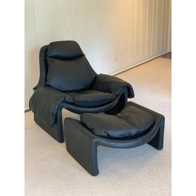 Black Vintage Black Saporiti Lounge Chair and Ottoman by Vittorio Introini For Sale - Image 8 of 8