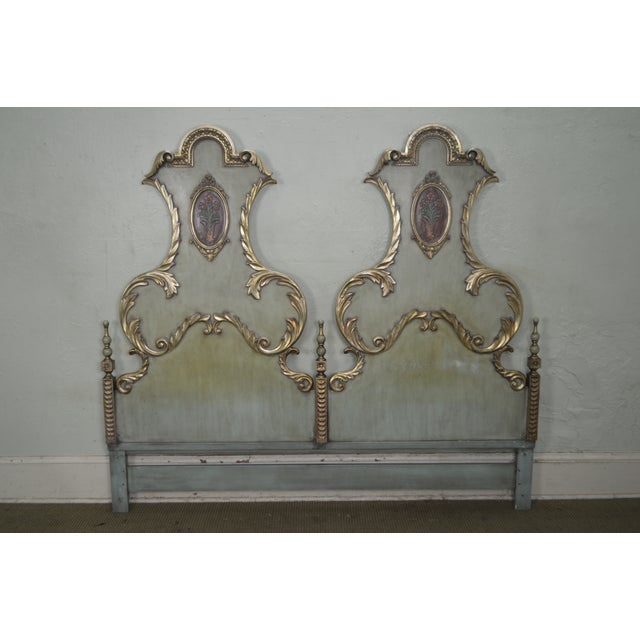 Karges Vintage High Back Paint Decorated Venetian Style King Size Headboard - Image 2 of 10