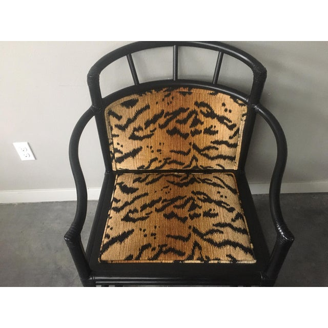 2010s Organic Modern Black Bamboo + Animal Print Chair by Milling Road for Baker Furniture For Sale - Image 5 of 13