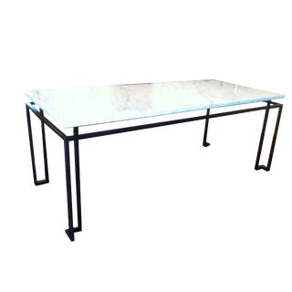 Line Custom Steel & Marble Dining Table For Sale