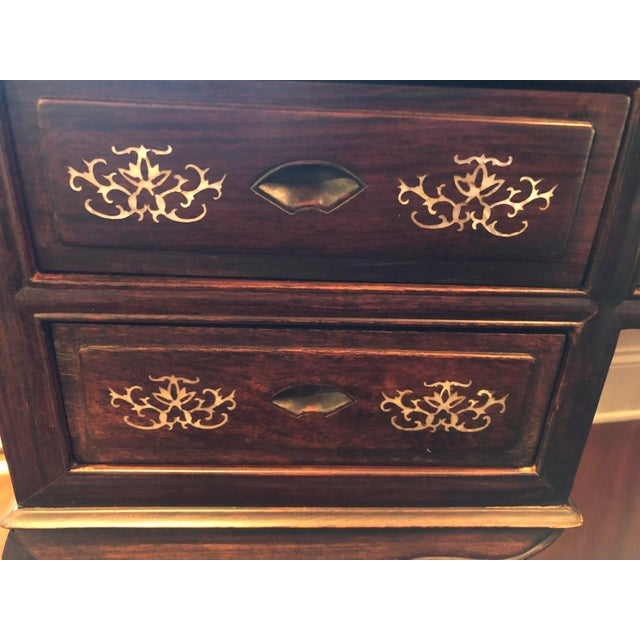 1980s 1980's Chinese Rosewood Desk & Chair - 2 Pieces For Sale - Image 5 of 10