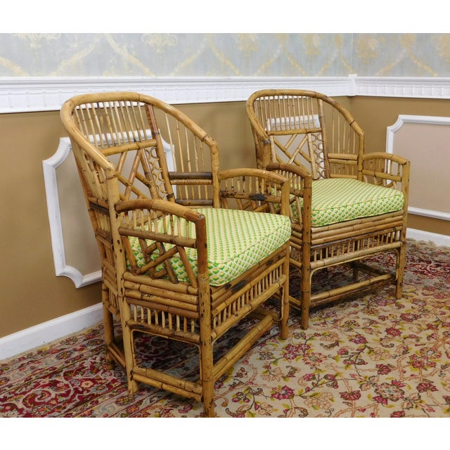 Brighton Style Chippendale Hollywood Regency Bamboo Armchairs- A Pair - Image 3 of 10