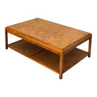 Mid-Century Burl & Cane Coffee Table