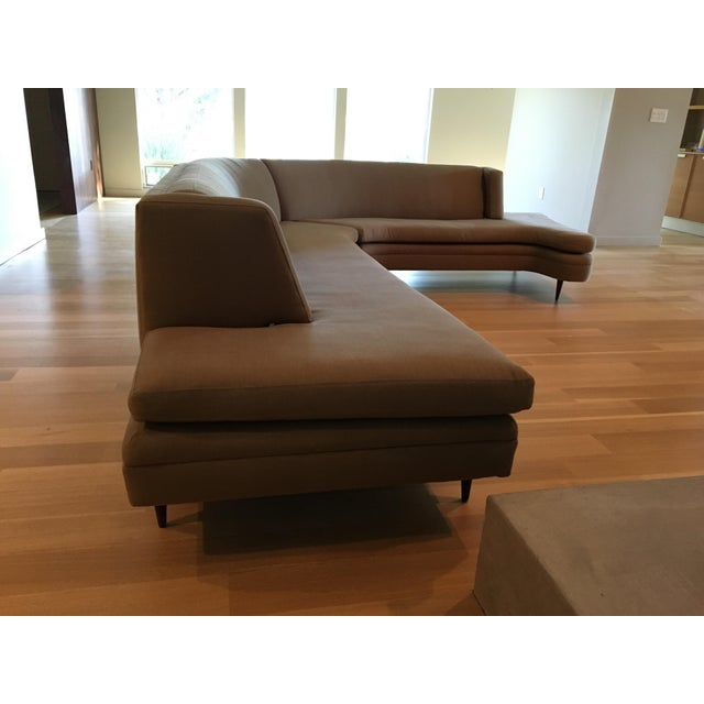 Mid-Century Linen Upholstered Two Piece Setional Sofa - Image 5 of 9