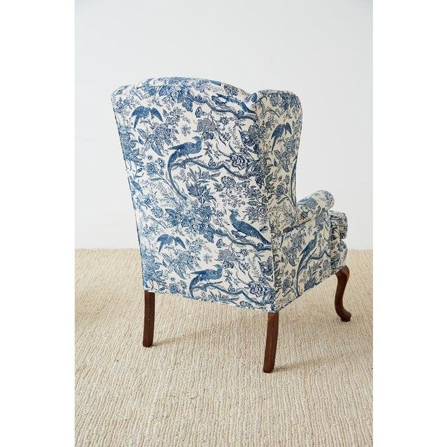 Chinoiserie Upholstered Queen Anne Wingback With Ottoman For Sale - Image 12 of 13