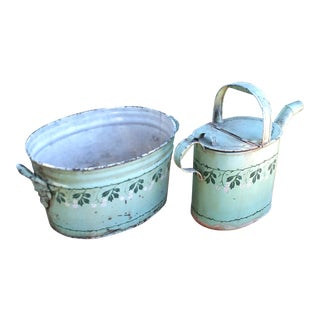 English Foot Bath and Water Can With Leaf Motif - 2 Pieces For Sale