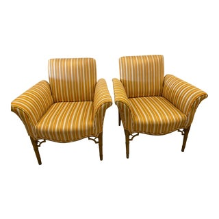 Vintage Chinoiserie Faux Bamboo Fret Wood Club Arm Chairs -A Pair For Sale