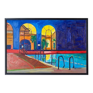 """Daniel Phill """"Pool"""" Oil on Canvas Painting For Sale"""