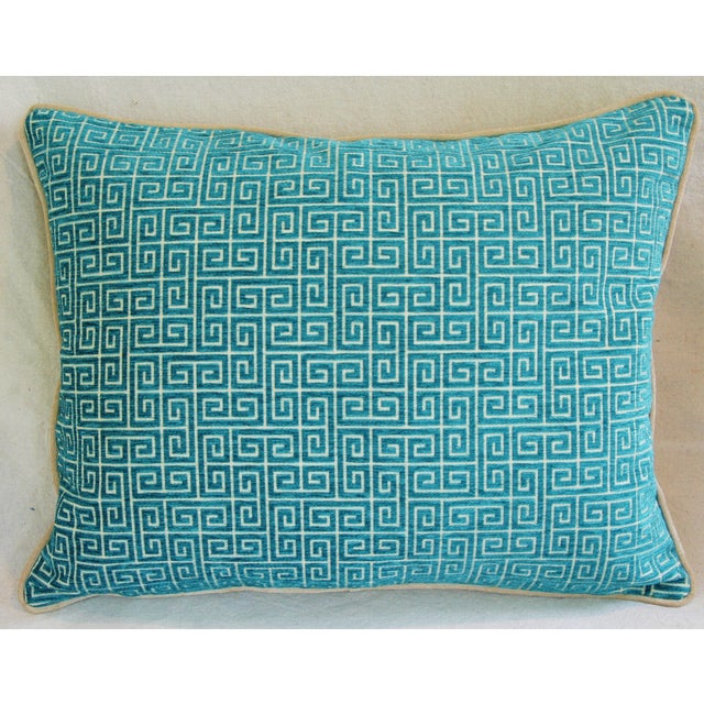 """Fabric Designer Turquoise Greek Key Velvet Feather/Down Pillows 24"""" X 18"""" - Pair For Sale - Image 7 of 8"""