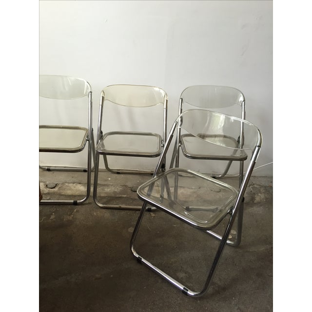 Italian Italian Lucite & Chrome Folding Chairs - Set of 4 For Sale - Image 3 of 7