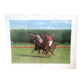 "Authentic Vintage ""Polo Match"" Lithograph Print Signed Ricardo Morales-Hendry For Sale"