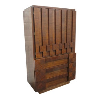 Lane Furniture Brutalist Tall Chest of Drawers For Sale