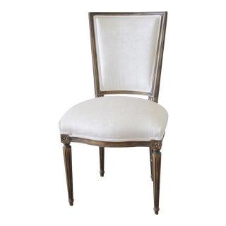 Antique Louis XVI White Velvet French Chair