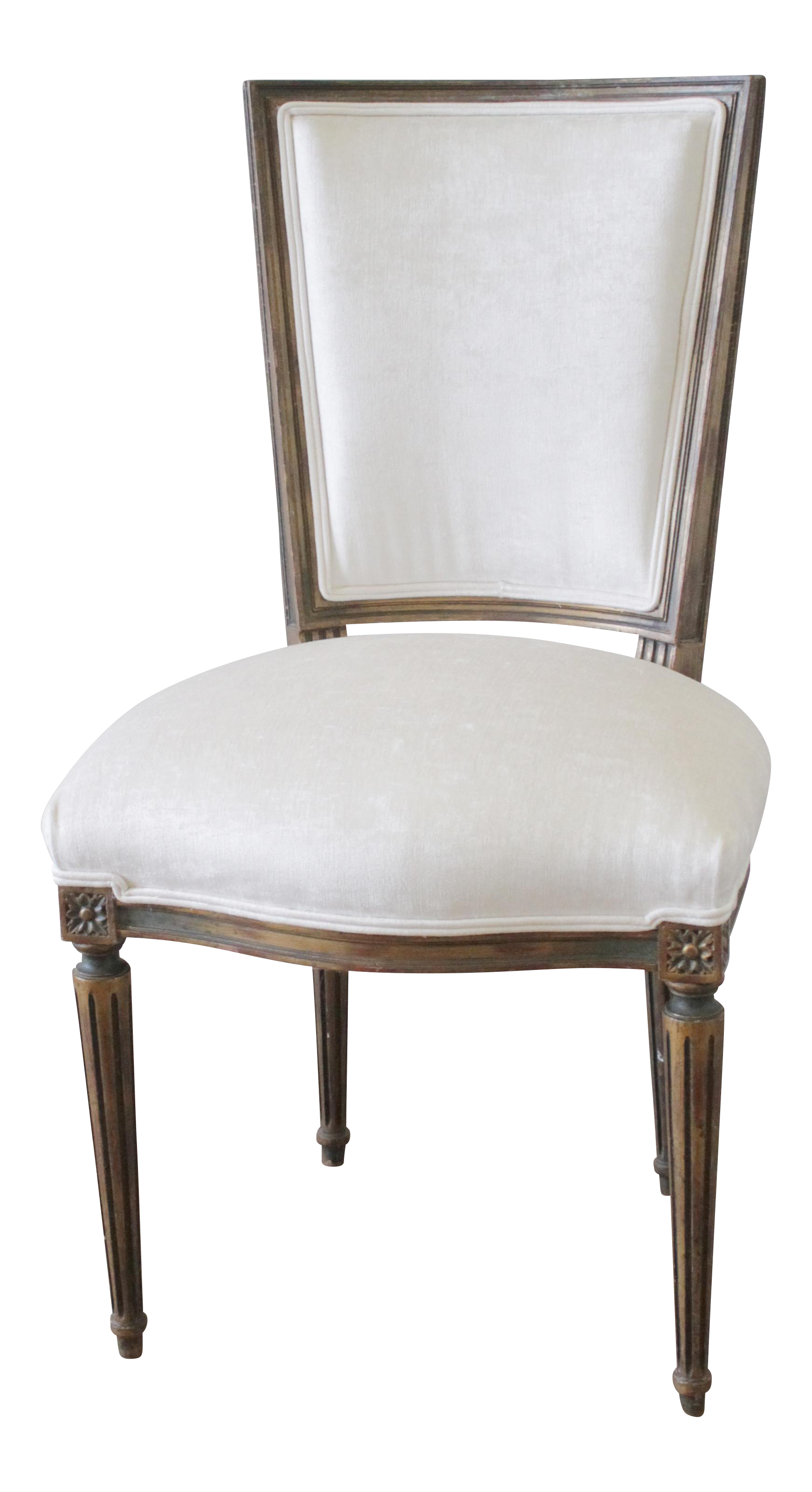 Antique Louis XVI White Velvet French Chair