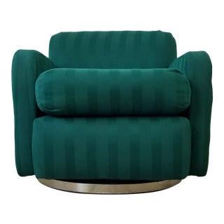 Milo Baughman Style Mid-Century Modern Chrome Swivel Base Club Chair For Sale