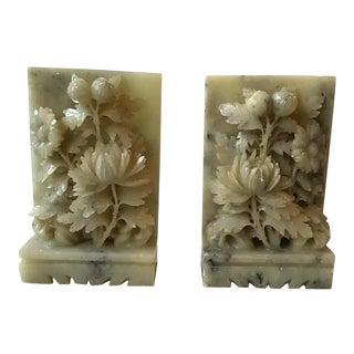 1920s Carved Alabaster Floral Bookends For Sale