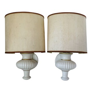 White Porcelain Sconces - a Pair For Sale